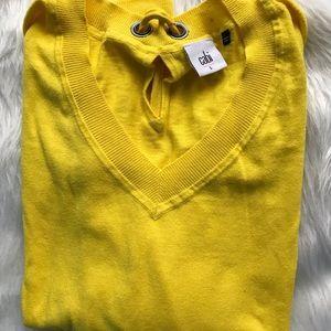 CABI Bright Yellow V Neck Sweater